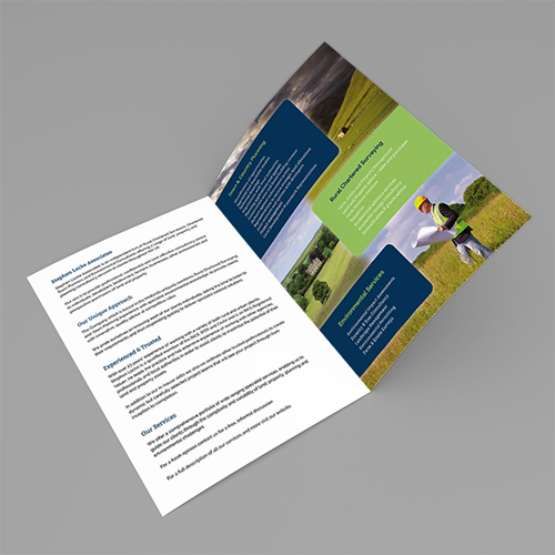 44013273 - blank folded flyer, booklet, postcard, business card or brochure mockup template on grey background